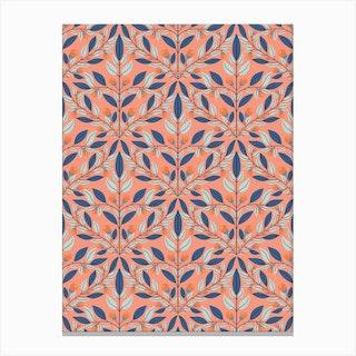 Orange Floral Diamond Canvas Print