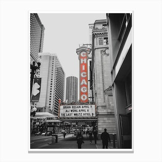 Vintage America Chicago Red Theatre Canvas Print