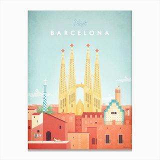 Visit Barcelona Canvas Print