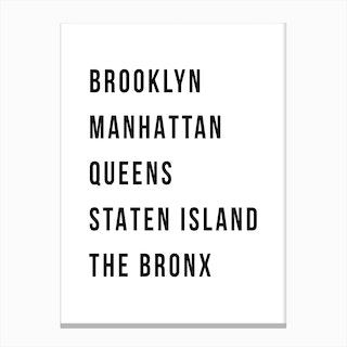 The Five Boroughs Of New York Canvas Print