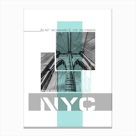 Poster Art Nyc Brooklyn Bridge Details Turquoise Canvas Print