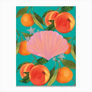Peaches, Stars And Shell In Teal Canvas Print