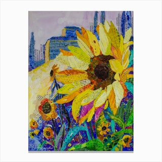 Sun Flowers In Tuscan Canvas Print