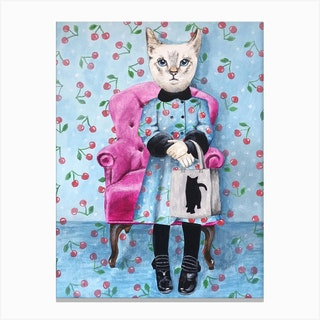 Cat With Cat Bag Canvas Print