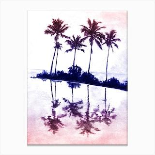 Palm Tree Reflections Sunset Canvas Print