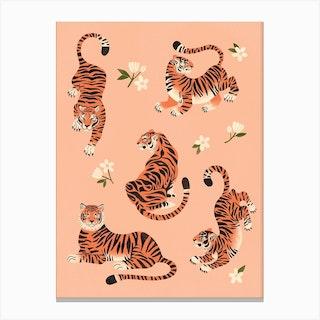 Fierce Tigers In Peach Canvas Print