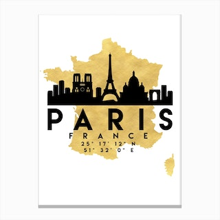 Paris France Silhouette City Skyline Map Canvas Print