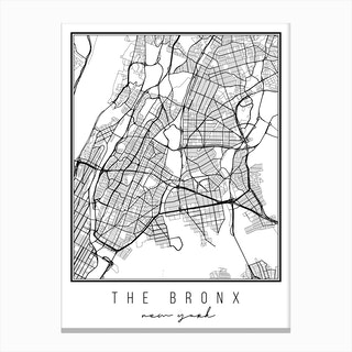 The Bronx New York Street Map Canvas Print
