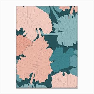 Elephant Ear Leaves Canvas Print