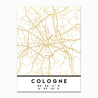 Cologne Germany City Street Map Canvas Print
