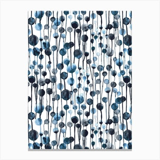 Dripping Dots Navy Canvas Print