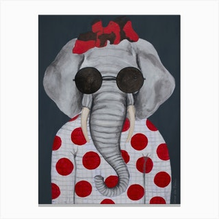 Vintage Elephant Woman Canvas Print
