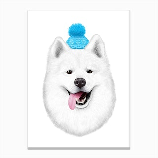 Samoyed In Hat Canvas Print