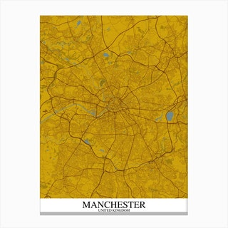 Manchester Yellow Blue Map Canvas Print