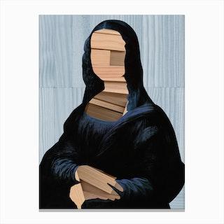 Mona Lisa · Blue Shining Woodcut Canvas Print