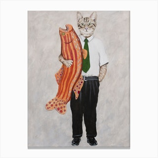 Cat With Big Fish Canvas Print