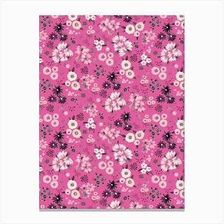 Little Flowers Fucsia Canvas Print
