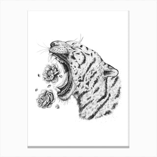 Tiger With Peonies Canvas Print
