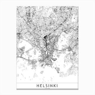 Helsinki White Map Canvas Print