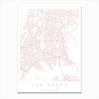 The Bronx New York Light Pink Minimal Street Map Canvas Print