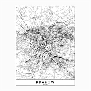 Krakow White Map Canvas Print