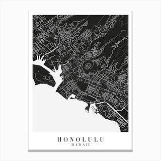 Honolulu Hawaii Minimal Black Mono Street Map Canvas Print