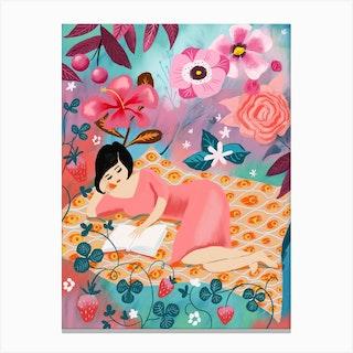 Woman Reading In A Garden Canvas Print