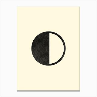 Minimal Quarter Moon Phase In Beige Canvas Print