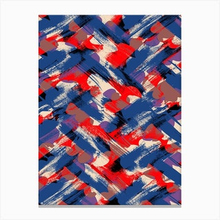 Red And Blue Brushstrokes Canvas Print