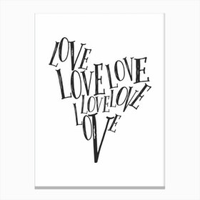 Love Heart Print Canvas Print