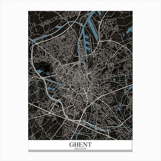 Ghent Black Blue Canvas Print