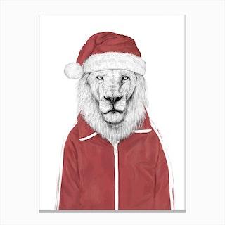 Santa Lion Canvas Print