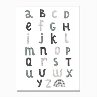 Alphabet Chart With Rainbow  Blues & Greens Canvas Print