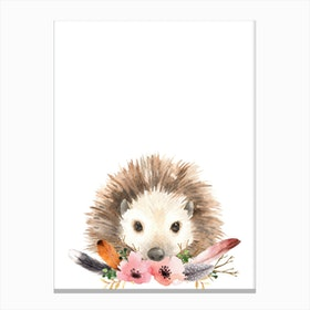 Floral Hedgehog Canvas Print