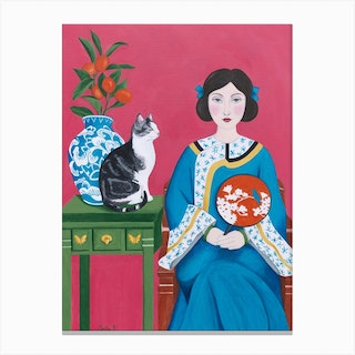 Chinese Woman And Cat Canvas Print