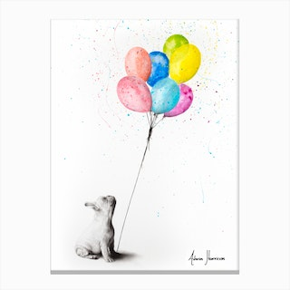 The French Bulldog And The Balloons Canvas Print
