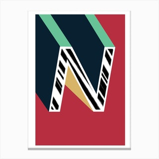 N Geometric Font Canvas Print