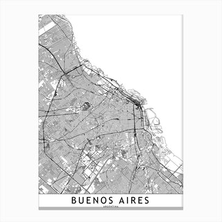 Buenos Aires White Map Canvas Print