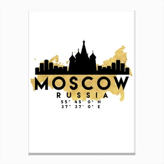 Moscow Russia Silhouette City Skyline Map Canvas Print