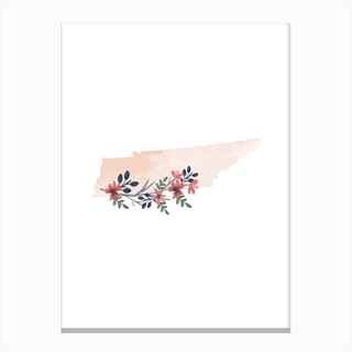 Tennessee Watercolor Floral State Canvas Print