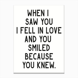When I Saw You I Fell In Love Canvas Print