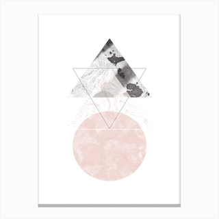 Triangle Pink & Black Marble Abstract with Circle Canvas Print