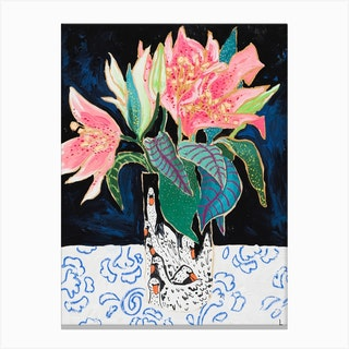 Pink Lily Bouquet In Swan Vase Dark Floral Painting Canvas Print