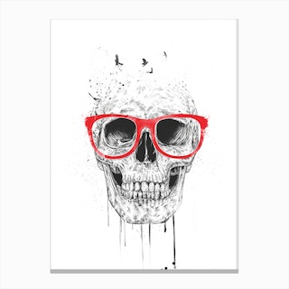 Skull With Red Glasses Canvas Print