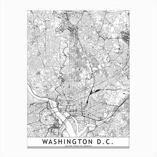 Washington White Map Canvas Print