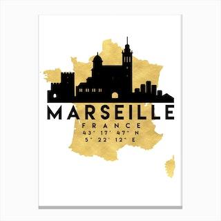 Marseille France Silhouette City Skyline Map Canvas Print