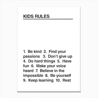 Kids Rules Bw Canvas Print