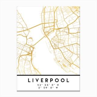 Liverpool England City Street Map Canvas Print