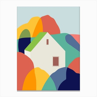 The Green Roof Cottage Canvas Print