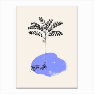 Tropical Tree Light Blue Canvas Print